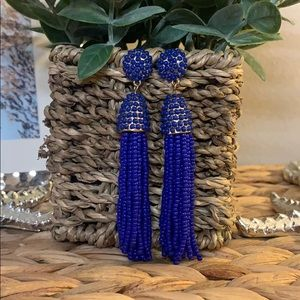Royal Blue Beaded Tassel Earrings